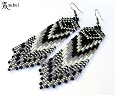Long Native American Style Seed Bead Earrings in by Anabel27shop,