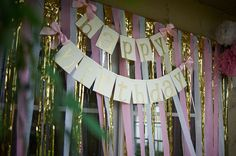 Pink and Gold Birthday Party Decorarations - ships in 1-3 business days - Glitter Gold Happy Birthday Banner by ConfettiMommaParty on Etsy https://www.etsy.com/listing/237428526/pink-and-gold-birthday-party