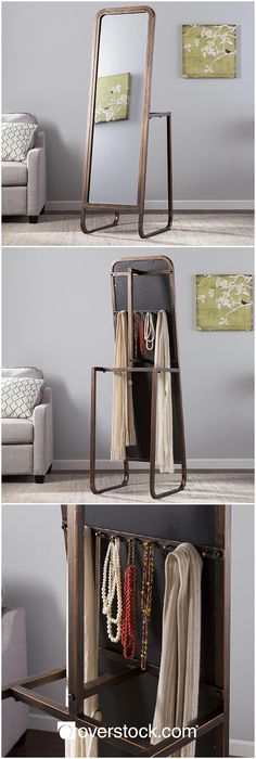 Chic-inspired industrial style brings bold styling and functionality to your living space. Store coats, scarves, and jewelry with ease. This self-standing mirror features 1 coat rack, 2 lower wardrobe racks, and 9 jewelry pegs. This space-saving, apartment friendly mirror makes a great addition to any bath, entryway, or bedroom.