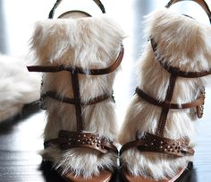 """""""DIY Furry Strappy Sandels"""" .... First, it's sandAls. Second, WHY THE FUUUUCK WOULD YOU MAKE THESE?"""