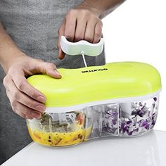 Amazon.com: Gourmia GCH9295 Twin Vegetable Chopper & Blender Double Sided Kitchen Gadget With Interchangeable Dicing & Blending Attachments, Durable BPA free food safe material: Kitchen & Dining