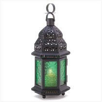 Wholesale Moroccan Candle Lantern: Wrought Iron Candle Holder Decorative Green Stained Glass Panels