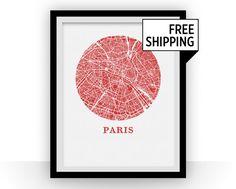 Paris carte Estampe  ville carte affiche par OMaps sur Etsy