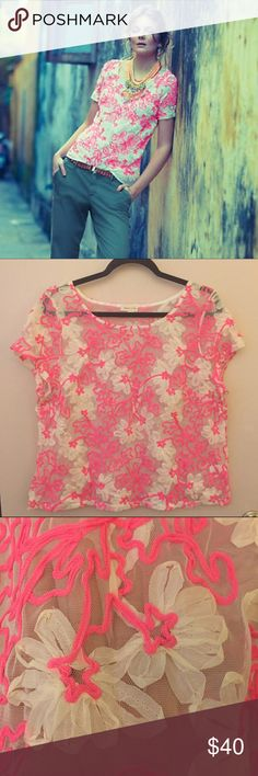"""anthropologie • meadow rue cherry blossom blouse Floral and femme, Meadow Rue's sheer mesh blouse instantly upgrades your jeans-and-tee routine. By Meadow Rue. Pullover styling. Polyester. 21"""" armpit to armpit, 22"""" length  NO TRADES • NO TRADES • NO TRADES - - - trusted seller for years • ships quickly great feedback • offers welcome 👠🎒👜 let's shop together! 💄👗👢 Anthropologie Tops"""