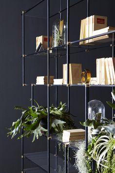 fine metal frame + glass shelving | Drizzle Shelving system | Gallotti Radice