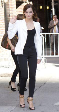 White Blazer, black top, black skinnies & heels