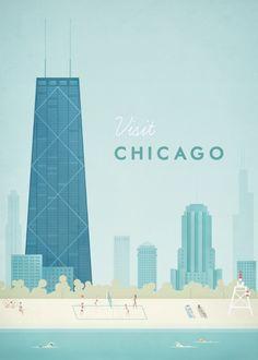 Vintage Chicago Travel Poster Art Print