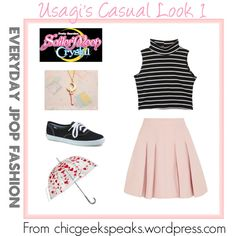 A casual outfit inspired by that worn by Tsukino Usagi in the opening theme of the new anime series Sailor Moon Crystal. Find more anime, graphic novel, book, and film inspired fashion at The Chic Geek Speaks blog: chicgeekspeaks.wordpress.com