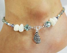 Anklet, Ankle Bracelet, Sea Shell Charm, Light Aqua Blue Crystals, Ivory White Mother of Pearl Chips, Beaded, Nautical, Beach, Ocean, Sand