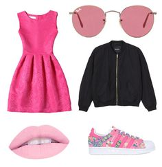 """Pink"" by linavanmourik on Polyvore featuring adidas Originals, Ray-Ban en Monki"