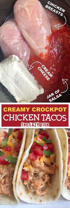 for easy chicken crockpot recipes? These creamy slow cooker chicken taco. Looking for easy chicken crockpot recipes? These creamy slow cooker chicken taco. Looking for easy chicken crockpot recipes? These creamy slow cooker chicken taco. Creamy Crockpot Chicken, Slow Cooker Chicken Tacos, Crock Pot Tacos, Chicken Cooker, Taco Chicken, Low Carb Crockpot Chicken, Dinner Crockpot, Crockpot Chicken With Salsa, Easy Chicken Tacos