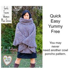 Do you need a FREE poncho pattern for a Girl, a Teen, a Woman, or even Plus Size? CUSTOMIZE with this EASY free cowl hooded poncho #crochet pattern.