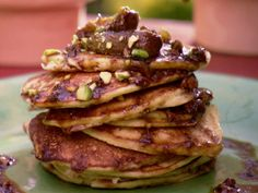 Orange Ricotta Pancakes with Caramelized Fig and Pistachio Compote Recipe : Bobby Flay : Food Network Ricotta Pancakes, Pancakes And Waffles, Breakfast Pancakes, Brunch Recipes, Breakfast Recipes, Breakfast Ideas, Brunch Ideas, Breakfast Dishes, Food Network Recipes
