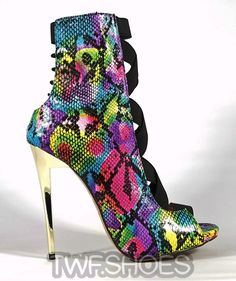 Dioselin Pink Rainbow Snake Elastic Strap Ankle Boot
