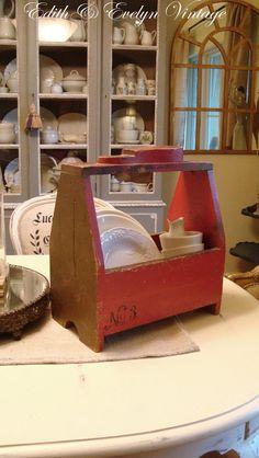 Vintage Shoe Shine Box, Red, Original Paint, Wood Box