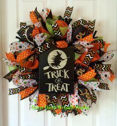 Halloween Wreath, Trick or Treat Wreath, Fall Wreath, Autumn Wreath, Paper Mesh…