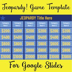 Classroom Games, Google Classroom, School Classroom, School Fun, Middle School, Teaching Technology, Educational Technology, Jeopardy Game Template, 5th Grade Activities