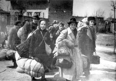 Lodz, Poland, Jews being deported from the ghetto to death camps.
