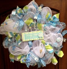 Adorable baby boy wreath--great for a shower, hospital door, or welcome home. **Contact artmeetshome@aol.com if interested.