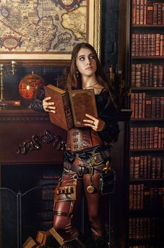 Brown leather steampunk outfit.  Love the stretch leather leggings.