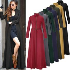 New Womens Full-Length Winderbreaker Wool Blend Jacket Slim Fit Long Trench Coat Blazers For Women, Coats For Women, Jackets For Women, Clothes For Women, Vintage Skirt, Vintage Dresses, Abaya Fashion, Fashion Dresses, Mode Abaya