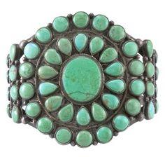 Classic Navajo Cuff..Green Turquoise