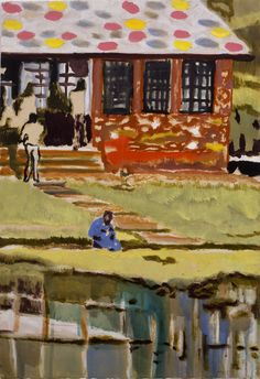 Peter Doig, Ooty Boathouse, 2002. Oil on paper, 22 1/4 x 15 1/2 inches, 56.5 x 39.5 cm.