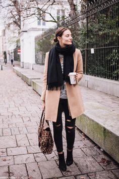 e162611e61d6 Again love the longer camel coat. Street wear perfect for fall. Big chunky  scarf