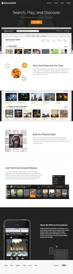 Grooveshark (http://grooveshark.com/new) landing page #UI #UX #web #design #webdesign #webdesign #conversion #interface