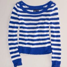 AE Striped Sweater Cobalt blue & white stripes. Prepster cool. 55% Cotton, 45% Nylon • Soft flat-knit cotton blend. • Subtly shrunken fit. • Preppy stripes. • Crew neck. • Ribbed neck, cuffs and hem. Imported, Machine Wash. Worn once. No flaws. No trades. Photo credit to Classickayla. American Eagle Outfitters Sweaters