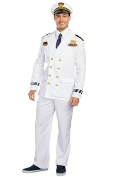 In this Captain costume, get ready to set sail! Ladies love a man in uniform, with this Captain jacket and hat you'll look the part to have to have to keep the ladies at bay. 2017 Halloween Costumes, Adult Costumes, Halloween 2020, Blue Suit Wedding, Wedding Suits, The Office Wedding, Captain Costume, Marine Officer, Soldier Costume