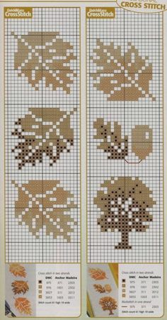 Fall Cross Stitch, Cross Stitch Tree, Cross Stitch Bookmarks, Cross Stitch Borders, Cross Stitch Flowers, Cross Stitch Charts, Cross Stitch Designs, Cross Stitching, Cross Stitch Embroidery