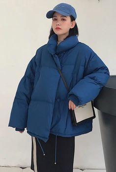 Korean Style 2020 Winter Jacket Women Stand Collar Solid Black White F – Celiati