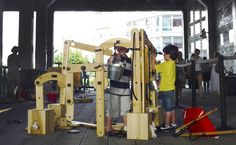 Rigamajig is a new large-scale building kit for children conceived for hands-on, free play and learning. This collection of wooden planks, wheels, pulleys, nuts and bolts allow children to follow their curiosity while playing, and explore concepts in science, engineering, and art.