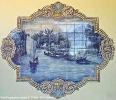 Panel depicting mercantel cargo boats moored on one of the canals in Aveiro. Águeda near Aveiro (Portugal by Portuguese_eyes, via Flickr)