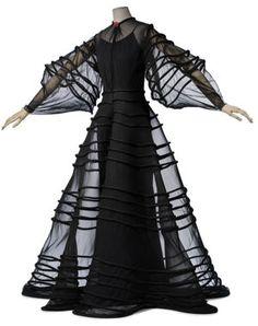 Madeleine Vionnet Black Sheer Ribboned Gown 1930s