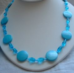 Blue Acrylic and Blue Clear Glass Bead by PattysDreamDesigns, $14.00