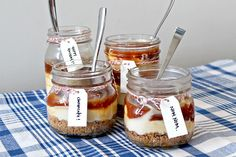 After our dishes in a jar roundup, we were inspired to create a dessert of our very own to put in a jar. After all, everything is better with a jar, like slushies, pumpkin cider, even lanterns! With the holidays coming up, this salted caramel cheesecake is great to throw together for a party or to give away as gifts. The only tough part here is making sure there's some left by the time it's served...
