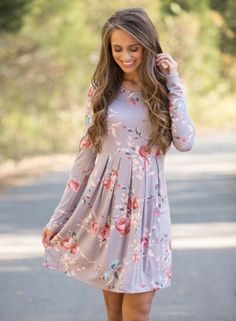 Floral Print Long Sleeve Round Neck Ruffled Mini Dress