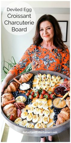 For brunch, enjoy a Deviled Egg Croissant Charcuterie Board with eggs, salami, and cheese to make delicious croissant sandwiches–savory or sweet! Charcuterie Recipes, Charcuterie Platter, Charcuterie And Cheese Board, Cheese Boards, Party Food Bars, Party Food Platters, Food Trays, Brunch Recipes, Appetizer Recipes