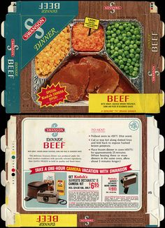 Swanson - Beef with Gravy, Mashed Brown Potatoes, Corn and Peans in Seasoned Sauce - Kodack Camera Offer - TV Dinner box - 1970   Flickr - Photo Sharing!