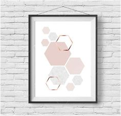 Blush Print Copper Wall Art Rose Gold Print Hexagon Poster Geometric Print Scandinavian Print Minimalist Art Modern Print Blush Home Decor