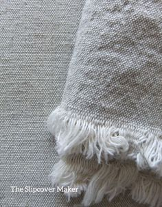"""Grainy texture, oatmeal in color -- this 12 oz. cloth works up great in a casual slipcover. Think hemp grain sack and homespun linen sheets.  Fabric: """"Latin"""" linen cotton blend from Instalinen.com."""