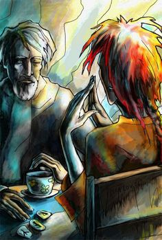 Happy Lokiday!!!!! (Glædelig Lørdag!!!!!) My first thought, when I saw this, was that it was a drawing of the Boss and Odin back in the day.  But, um, look at the tea cup!  This is MUCH more recent. But why are They in their pre-Ragnarøk forms? (Red-haired Loki and Odin in Von Sydow/All Father aspect.) What are They up to, do you think? Mythology Loki
