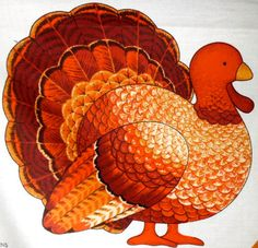 LET'S TALK TURKEY Fabric Panel  ~ VIP Cranston Thanksgiving Decoration ~ last one!