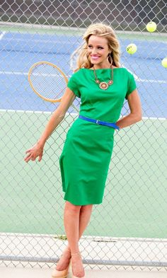 With a coral or pink belt instead of blue? Pop of color on color! Shabby Apple Tie Breaker dress