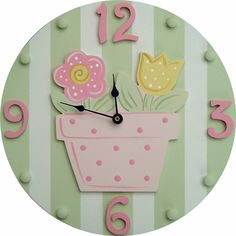 Flower Pot Wall Clock | Jack and Jill Boutique