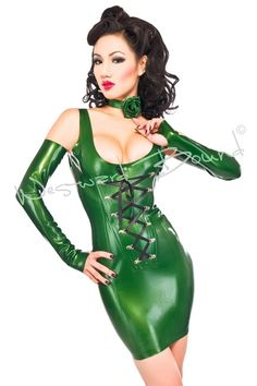 Kinky Latex Corset Dress as worn by the International Fetish Supermodel Vixen. `This fabulous vest style mini dress is fully boned at the front to enhance your figure.& ...