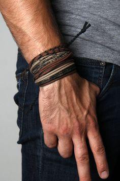 Brown and Tan with Black Print. Hand-Printed and Handmade bracelet by Necklush®. This is a mens or womens Wrap Bracelet, made with cotton and antiqued