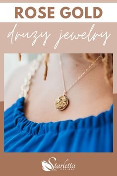 Rose gold druzy jewelry is both simple and elegant, trendy and timeless. Whether you need jewelry for day or night, rose gold druzy jewelry is a perfect addition to your collection! #rosegoldjewelry #druzyjewelry #rosegoldearrings #rosegoldnecklace Cute Necklace, Boho Necklace, Gemstone Necklace, Fashion Necklace, Druzy Jewelry, Rose Gold Jewelry, Rose Gold Earrings, Unique Necklaces, Handmade Necklaces